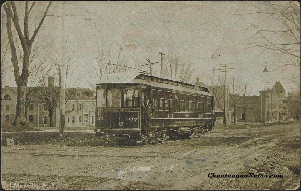 Mayville NY Trolley 107 Lake Shore Chautauqua Postcard 1908