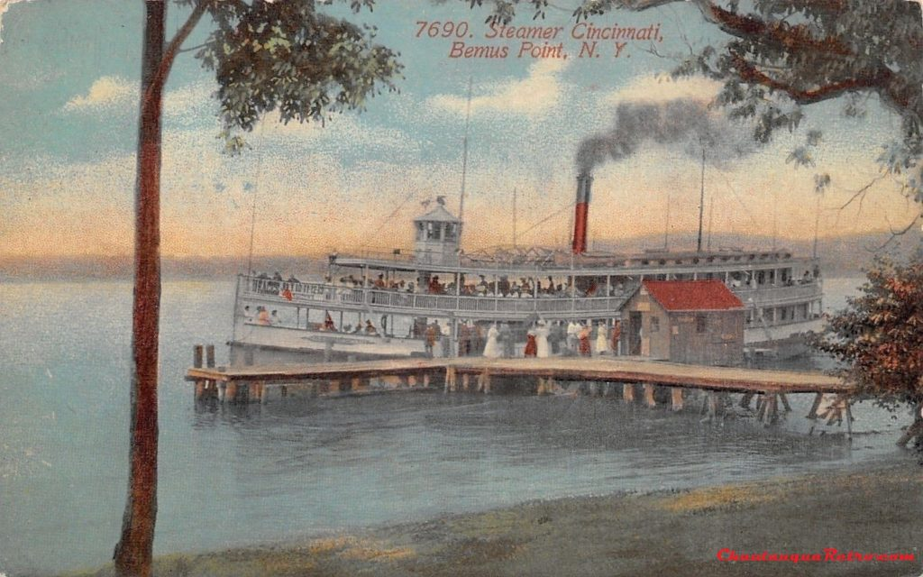 Bemus Point New York~Steamer Cincinnati at Landing Dock~Crowd Waits 1915 2