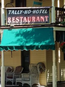 Tally Ho Hotel Restaurant sign.