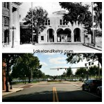 E. Main St. and Massachusetts - Then and Now  Chautauqua Auditorium vs. Swan Statue in front of Lake Mirror  Lakeland, Fl   A historical postcard (early 1900's) and a photo taken by Lakeland Retro