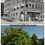 Then and Now  Corner of 101 -103 3rd & Pine St  Jamestown NY  Circa 1906 - J.C.Wass Company  Now - park area