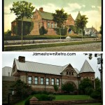 Prendergast Library - Then and Now  Jamestown, NY   Upper photo historical postcard, early 1900's  Lower photo by Jamestown Retro 2012