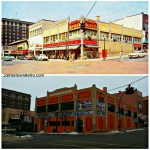 Third and Main – Then and Now  Jamestown, NY   Upper photo 1950's era postcard featuring #Woolworth and lower photo showing the #LUCILLEBALL DESI ARNAZ MUSEUM from December 2014