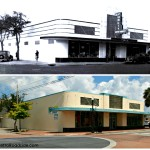 "Then and Now...  Site of first Publix Supermarket  Central Avenue at 2nd St NW   Winter Haven, Florida   In 1940, George Jenkins built Florida's first supermarket in Winter Haven. His ""food palace"" had piped-in music, air conditioning, cold cases for frozen and refrigerated items, in-store donut and flower shops, and electric-eye automatic doors.   Current business is a thrift shop.  New photo taken 9/7/13 by Retro Roadside."
