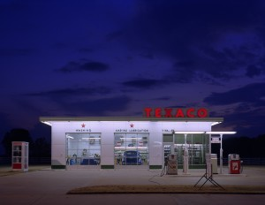 A completely reassembled vintage Texaco Station on the property of Vernon Walker who is a collector of old signs in Arkansas, near Memphis, Tennessee Courtesy of Library of Commerce