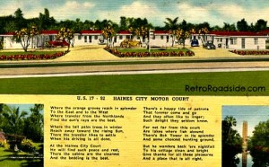 Haines City Motor Court   US Highways 17 & 92  Haines City, FL   Short drive to Bok Tower & Cypress Gardens   1940's  Retro Roadside Post Card Collection
