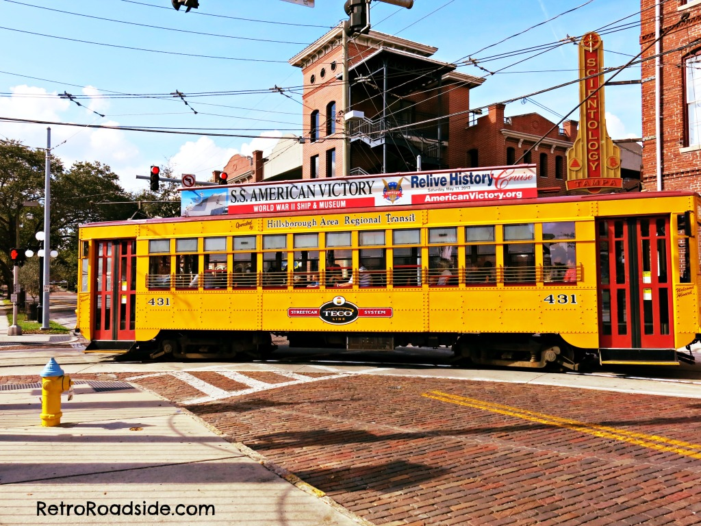 Trolley making a left turn in Ybor. Tampa, FL A Retro Roadside photo January 2015