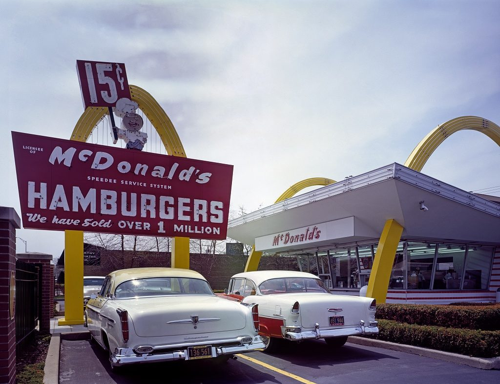 McDonald's Corporation held onto the patch of property west of Chicago where franchise Store #1 stood; Ray Kroc (founder of McDonalds) first opened for business there on April 15, 1955. The structure was eventually restored as an accurate replica of Store #1 (not serving food). A modern McDonald's opened for business right across the street.